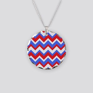 Red White and Blue Chevrons Necklace Circle Charm