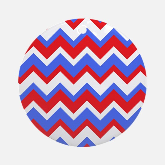 Red White and Blue Chevrons Round Ornament