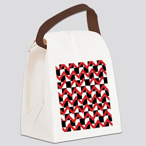 Black White Red Chevrons Canvas Lunch Bag