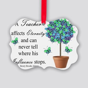 retired teacher quote BUTTERFLIES Picture Ornament