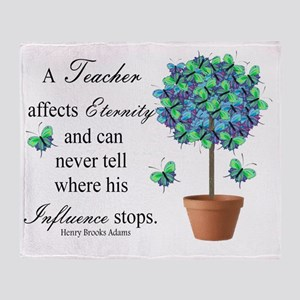retired teacher quote BUTTERFLIES Throw Blanket