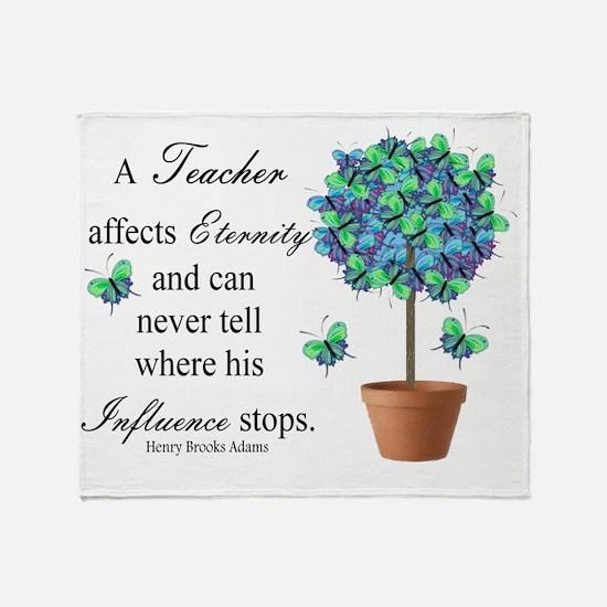 retired teacher quote BUTTERFLIES Throw Blanket