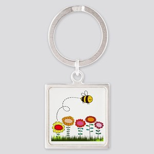 Bee Buzzing a Flower Garden Square Keychain