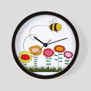 Bee Buzzing a Flower Garden Wall Clock
