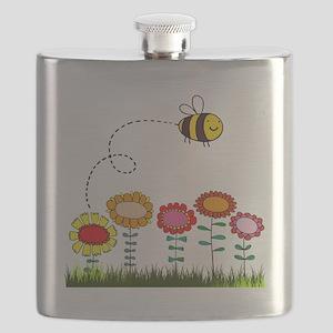 Bee Buzzing a Flower Garden Flask