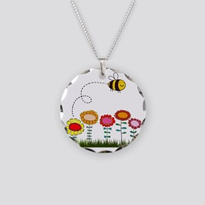 Bee Buzzing a Flower Garden Necklace Circle Charm
