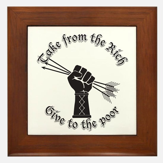 Take from the rich Occupy sillouette 2 Framed Tile