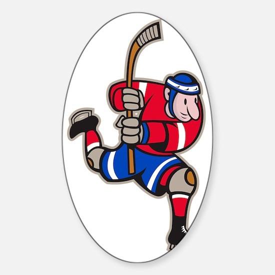 Ice Hockey Player Striking Stick Sticker (Oval)