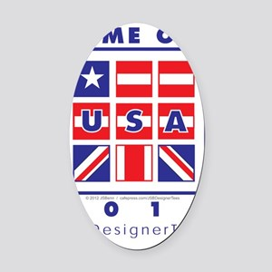 Game On USA Oval Car Magnet