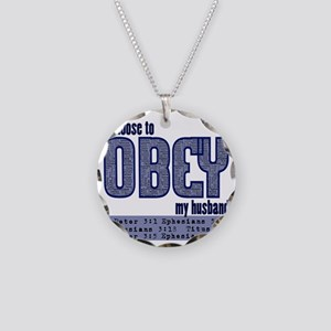 Choose to Obey BLUE Necklace Circle Charm