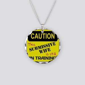 In Training RED Necklace Circle Charm