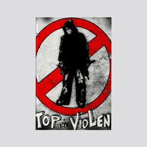 STOP THE VIOLENCE--- Graphitti Rectangle Magnet