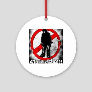 STOP THE VIOLENCE--- Graphitti Round Ornament