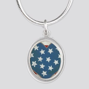 American Love Silver Oval Necklace