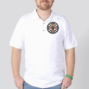 ORANGE BLACK N WHITE HEX Golf Shirt