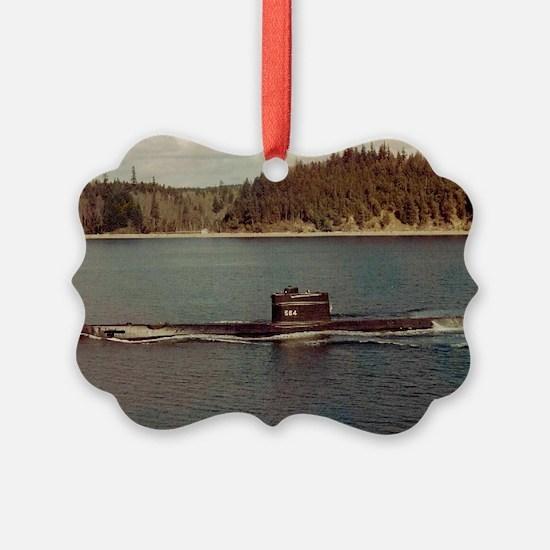 uss trigger large framed print Ornament