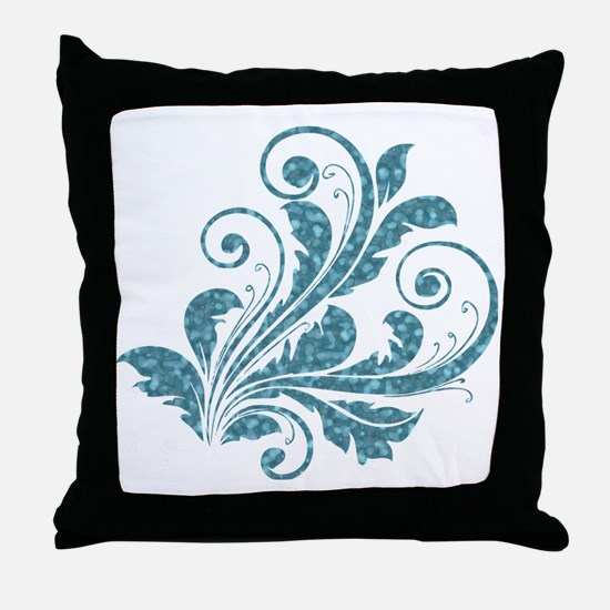 Blue Artistic Floral Throw Pillow