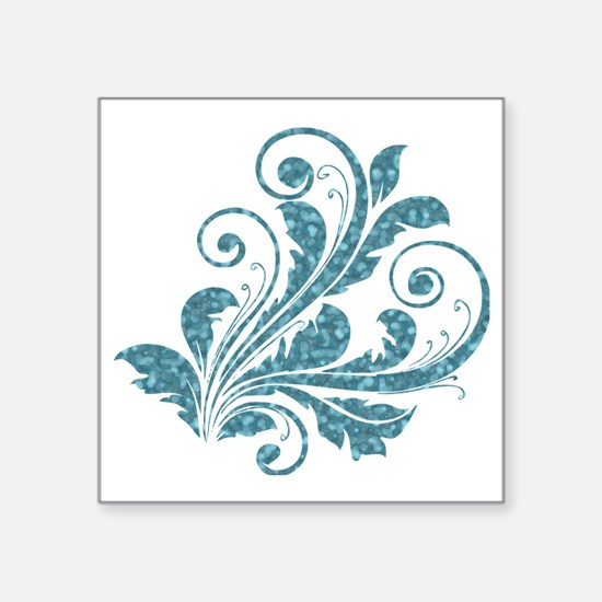 "Blue Artistic Floral Square Sticker 3"" x 3"""