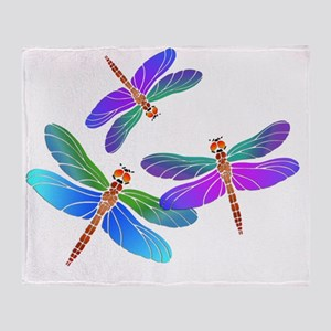 Dive Bombing Iridescent Dragonflies Throw Blanket