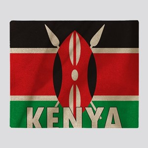 Kenya Fabric Flag Throw Blanket