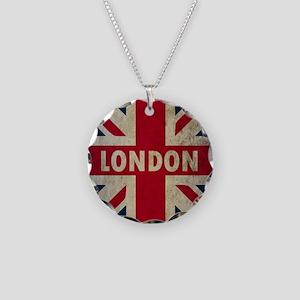Vintage Union Jack Necklace Circle Charm