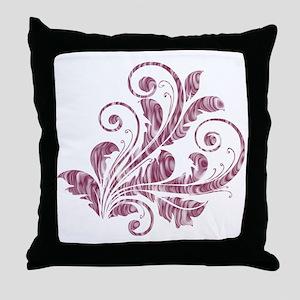 Mauve Artistic Floral Throw Pillow