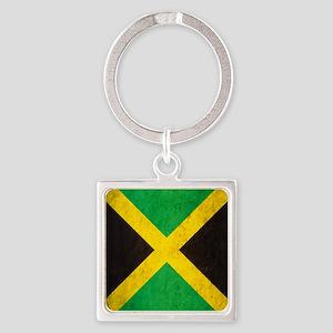 Vintage Jamaica Flag Square Keychain