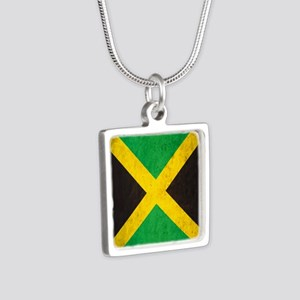 Vintage Jamaica Flag Silver Square Necklace