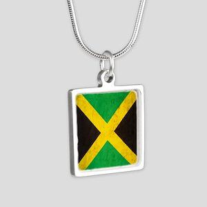 Vintage Jamaica Flag Silver Square Necklace