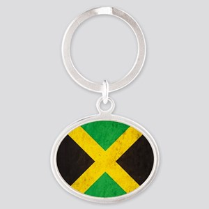 Vintage Jamaica Flag Oval Keychain