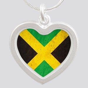 Vintage Jamaica Flag Silver Heart Necklace