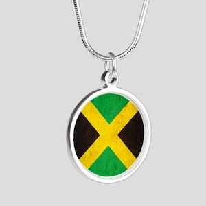 Vintage Jamaica Flag Silver Round Necklace