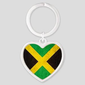 Vintage Jamaica Flag Heart Keychain