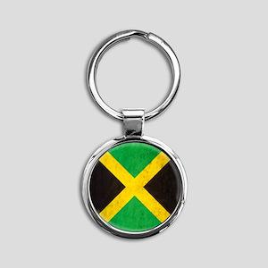 Vintage Jamaica Flag Round Keychain