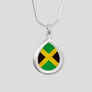 Vintage Jamaica Flag Silver Teardrop Necklace