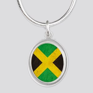 Vintage Jamaica Flag Silver Oval Necklace