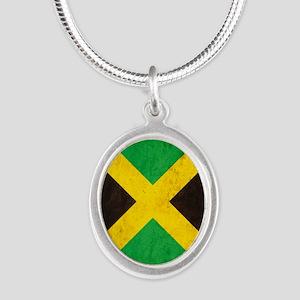 Vintage Jamaica Flag Silver Oval Necklace