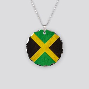Vintage Jamaica Flag Necklace Circle Charm