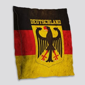 Vintage Deutschland Flag Burlap Throw Pillow