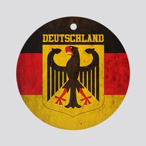 Vintage Deutschland Flag Round Ornament