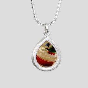 Happy Holidays Silver Teardrop Necklace