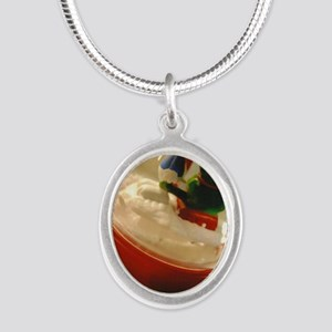 Happy Holidays Silver Oval Necklace