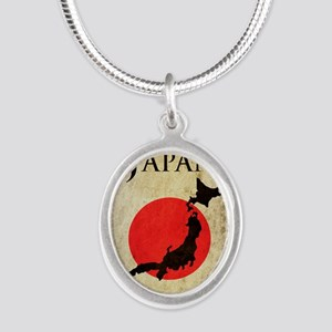 Map Of Japan Silver Oval Necklace