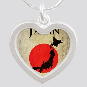 Map Of Japan Silver Heart Necklace