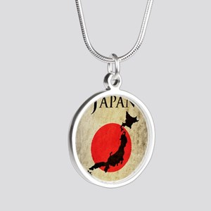 Map Of Japan Silver Round Necklace