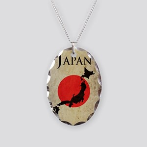 Map Of Japan Necklace Oval Charm