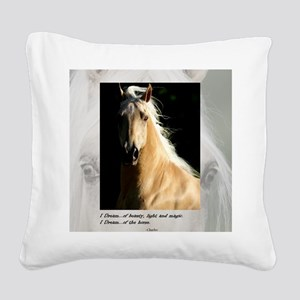 Golden Dream Horse Square Canvas Pillow