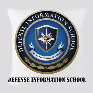 Defense Information School wit Woven Throw Pillow
