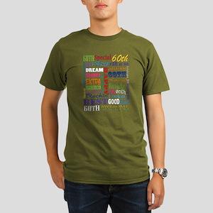 60th Birthday Typogra Organic Mens T Shirt Dark