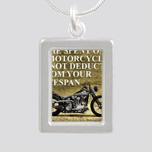 Time Spent On A Motorcyc Silver Portrait Necklace